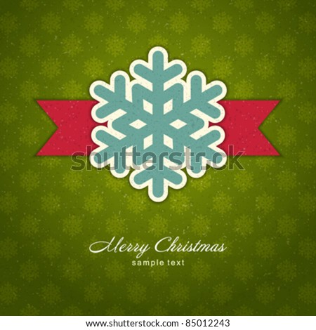 Christmas applique with snowflakes vector background. Eps 10. - stock vector