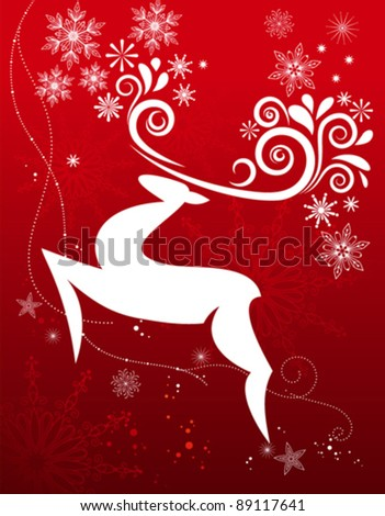 Christmas art of a reindeer flying though the air with snowflakes falling - stock vector