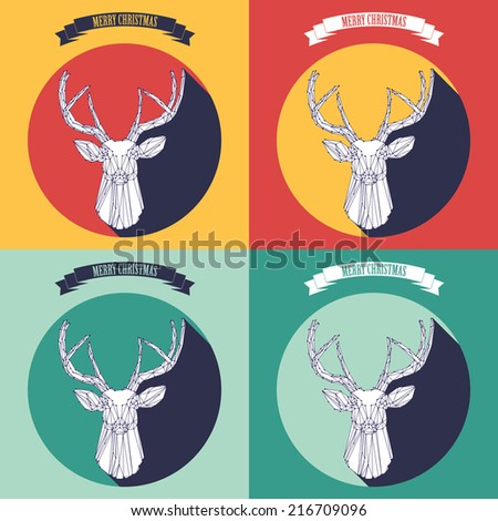 Christmas background and greeting card with deer - stock vector