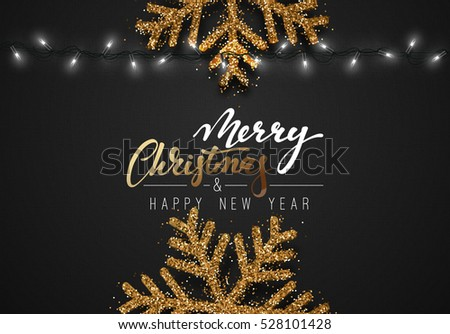 Christmas Background Black Color With Realistic Garlands And Beautiful Snowflakes Xmas Holiday Merry