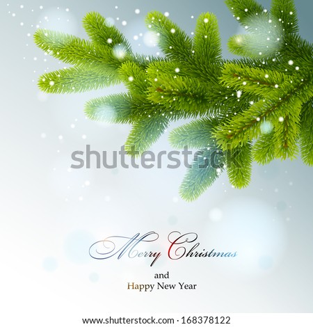 Christmas background. Christmas tree branch. Vector eps 10. - stock vector