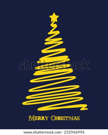 Christmas background. Christmas tree scribble card design. Vector illustration. - stock vector