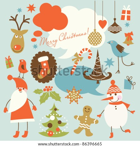 Christmas background, collection of icons - stock vector