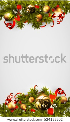 Christmas background decorated fir balls and ribbons
