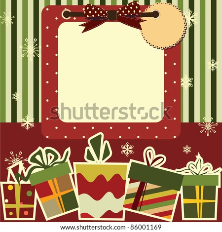 Christmas background. Empty frame with the space for your tex or picture - stock vector