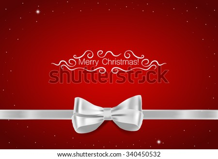 Christmas background. Gift bow and Shiny ribbon on red background. Vector illustration. - stock vector