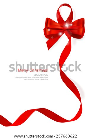 Christmas background. Gift bow and Shiny ribbon. Vector illustration. - stock vector