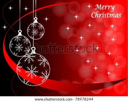Christmas background illustration with baubles on a red backdrop - stock vector