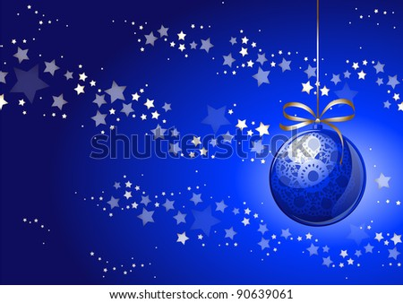 Christmas background in blue, vector - stock vector