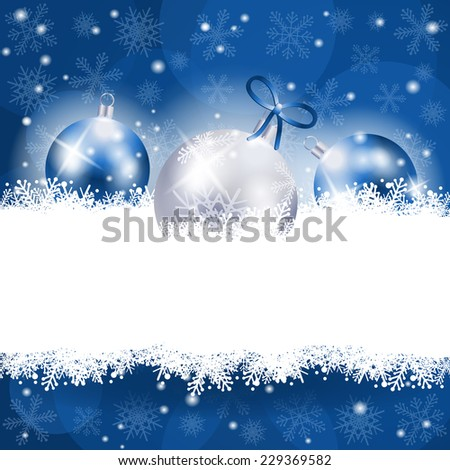 Christmas background in blue with copy space, vector eps 10 - stock vector