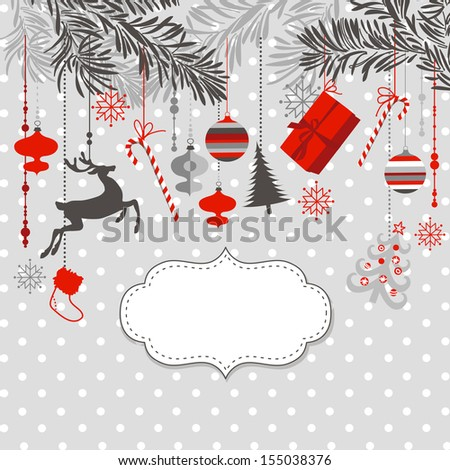 Christmas background in grey, red, white and black colors. - stock vector