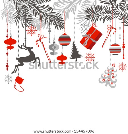 Christmas background in grey, red, white and black colors. Christmas tree branches and ornaments hanging down elegantly - stock vector