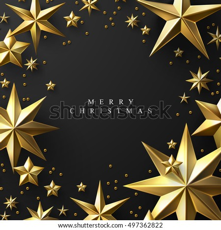 Christmas Background made of Cutout Gold Foil Stars . Chic Christmas Greeting Card.