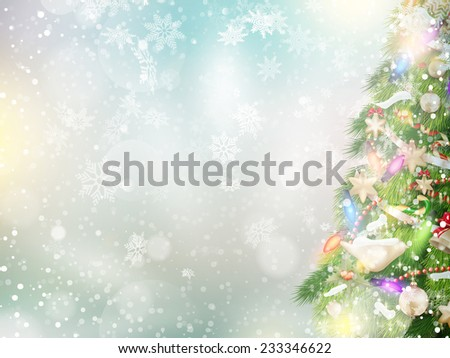 Christmas background of de-focused lights with decorated tree. EPS 10 vector file included - stock vector