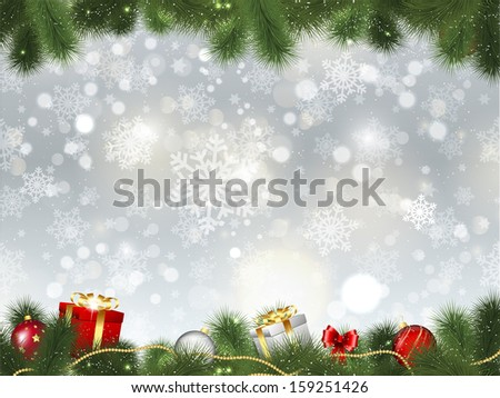 Christmas background of gifts and decorations in fir tree branches - stock vector