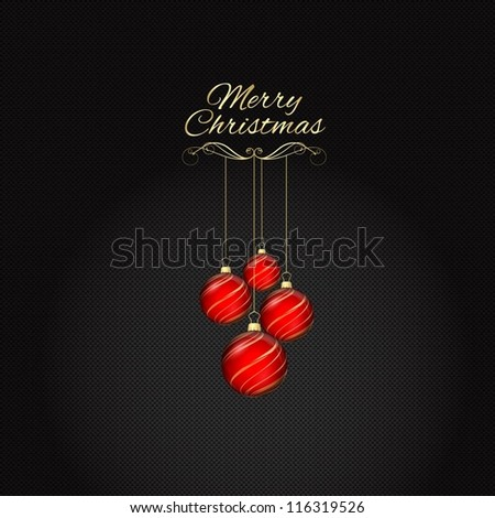 Christmas background of hanging baubles on a carbon fibre background - stock vector