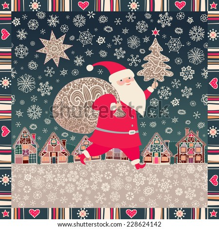 Christmas background. Santa Claus with a sack of Christmas gifts. Little town, lacy Xmas tree, star, moon, and snowflakes. Vector illustration, greeting card. - stock vector