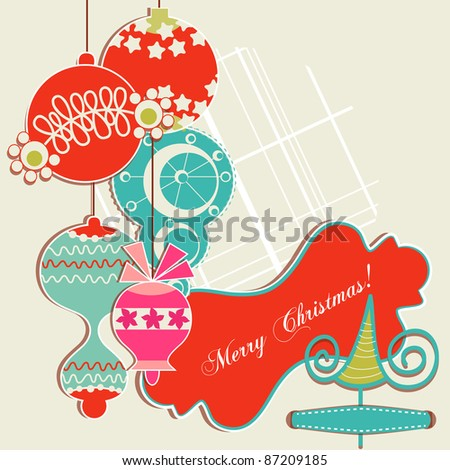 Christmas background, scrap booking elements - stock vector