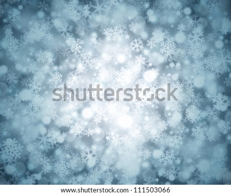 Christmas background snowflakes and light vector image - stock vector