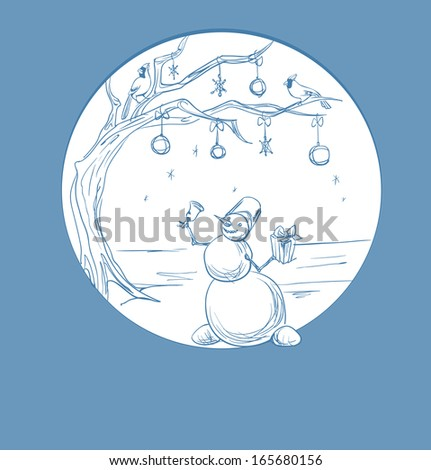 Christmas background  snowman with  present and cardinal bird - stock vector