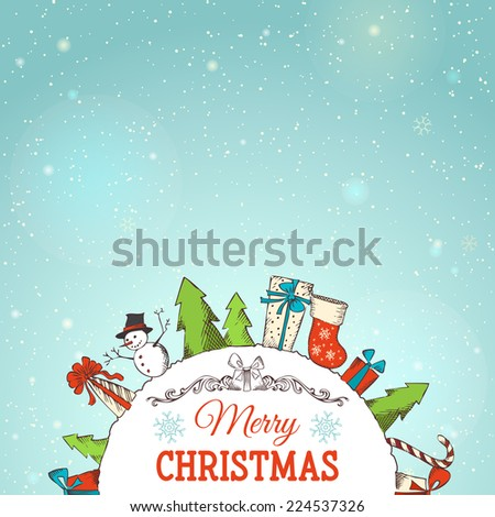 Christmas background. Various Christmas objects. There is place for your text on the Earth and in the sky. - stock vector