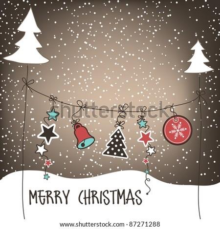 Christmas background, vector - stock vector