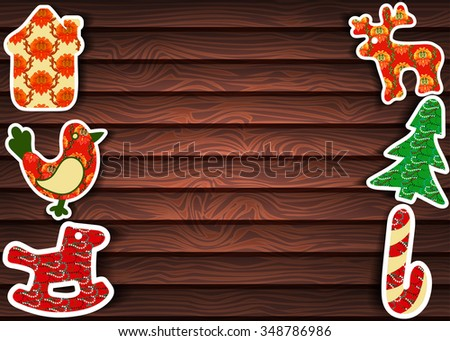 Christmas background. Vector background with Christmas toys.  - stock vector