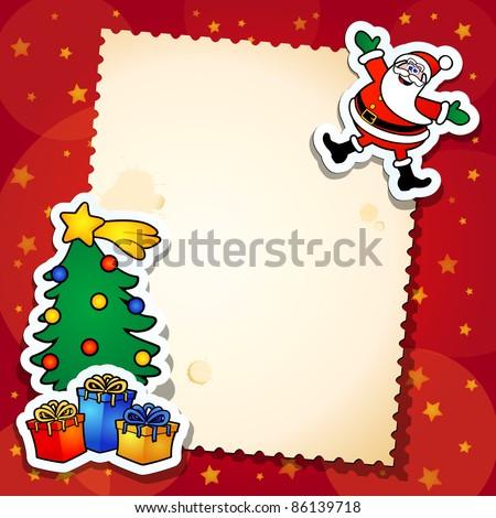 Christmas background, vector cartoon - stock vector