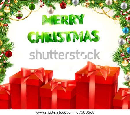 Christmas background vector image. Red gifts, fur-tree branches with Xmas balls. Free place for invitation text. Merry Christmas 3d vector text. - stock vector