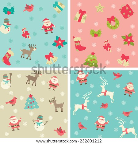 Christmas background. Vector seamless patterns with Santa and Christmas  decorations at retro style. - stock vector