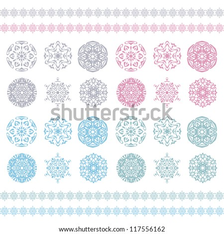 Christmas background, Vector snowflakes pattern, Snow flake silhouette. Pastel ornament, snowflakes border, holiday pattern. Winter symbol.