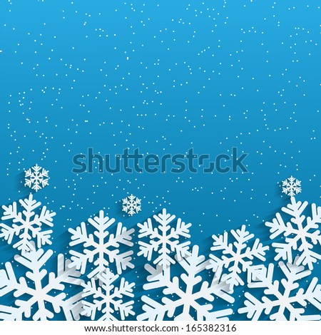 Christmas background.White snowflakes on blue background.backgrou nd for New Year's greetings.winter abstraction.vector  - stock vector