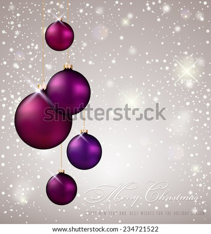 Christmas Background white violet evening balls - stock vector