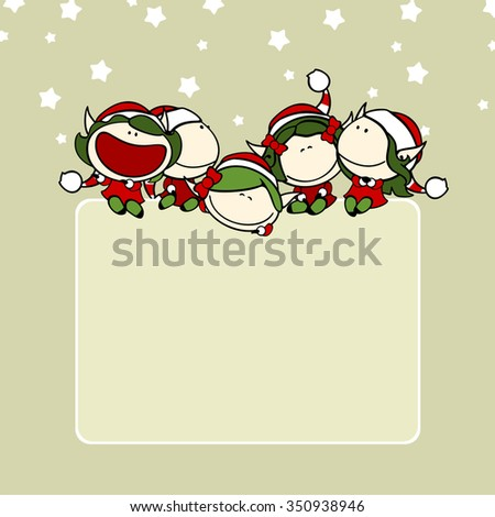 Christmas background with a group of fairy girls - stock vector