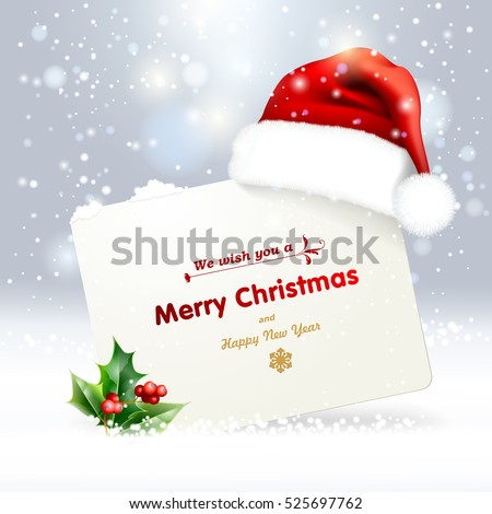 Christmas background with a red santa hat. Vector eps 10.