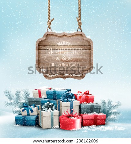 Christmas background with a retro wooden sign and gift boxes. Vector. - stock vector