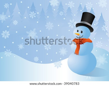 Christmas background with a snowman. Vector.