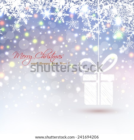 Christmas background with abstract hanging gift box snowflakes and colored lights - stock vector