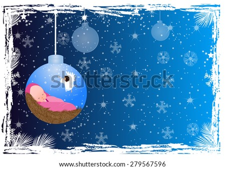 Christmas background with baby Jesus and angel  - stock vector