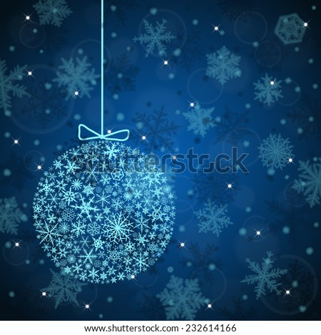 Christmas background with ball and snowflakes on blue background. - stock vector