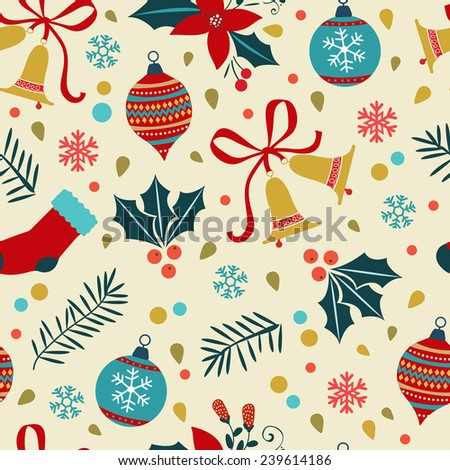 Christmas background with balls, bells, flowers. Vector illustration - stock vector