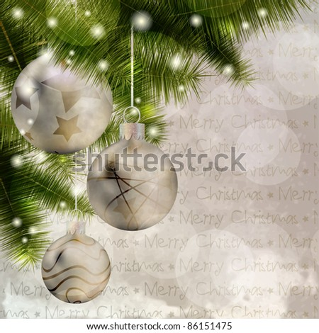 Christmas background with balls, pine and lights - stock vector