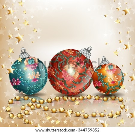 Christmas background with balls. Vector background. - stock vector