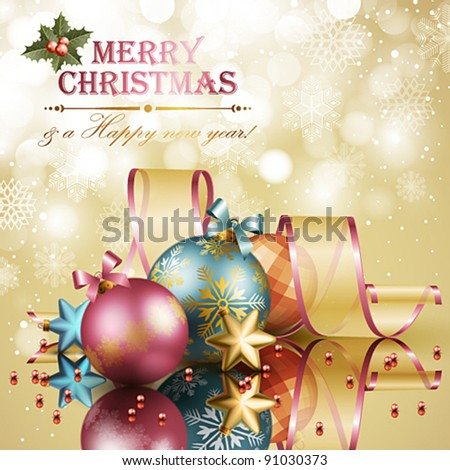Christmas background with balls. Vector illustration. - stock vector