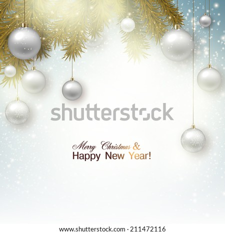 Christmas background with balls. White Xmas baubles. Vector - stock vector