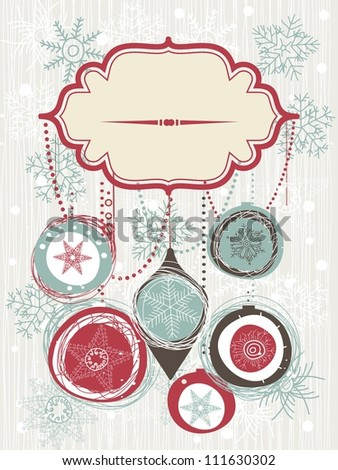 christmas background with banner - stock vector