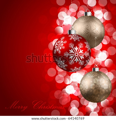 christmas background with baubles - stock vector