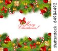 christmas background with baubles and christmas tree - stock
