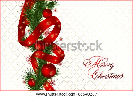 christmas background with baubles and christmas tree. - stock vector