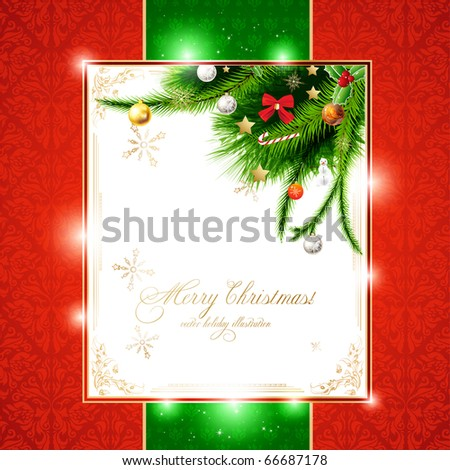 christmas background with baubles and christmas tree. New Year invitation with seamless background. - stock vector